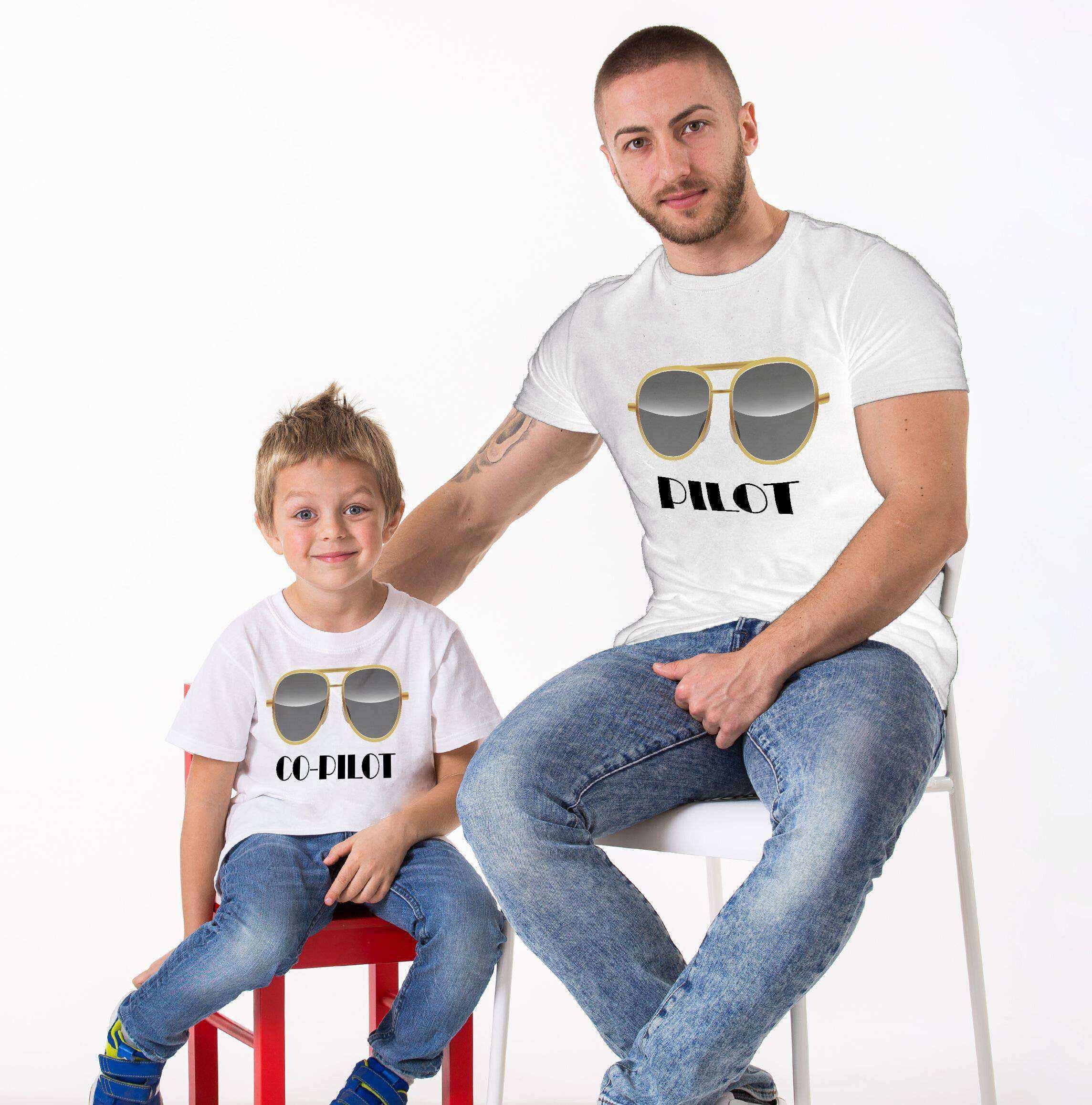 Tshirthane Pilot Co-Pilot Baba Oğul Giyim Beyaz Tshirt Baba Ogul