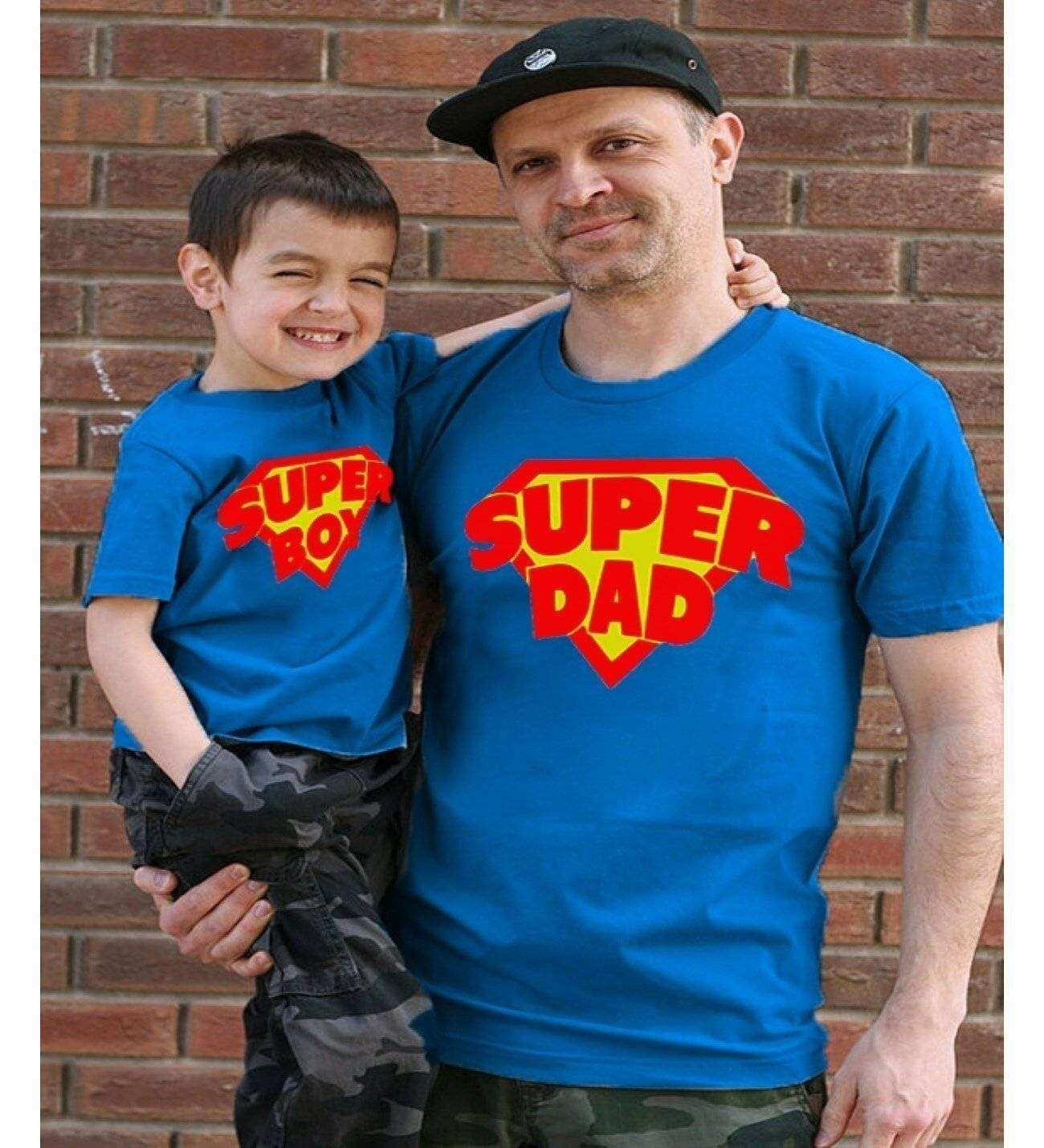 Tshirthane - Süper Dad, Süper Boy Baba Oğul Tshirt Mavi Tişört