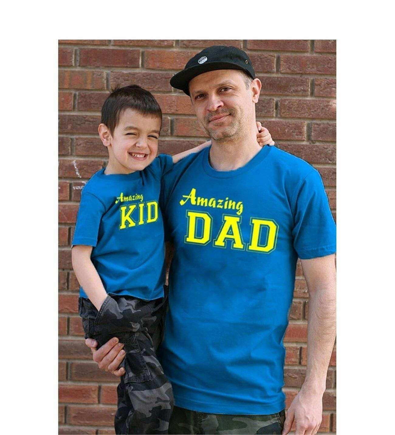 Tshirthane - Amazing Dad,Amazing Kid Baba Oğul Tshirt Mavi Tişört