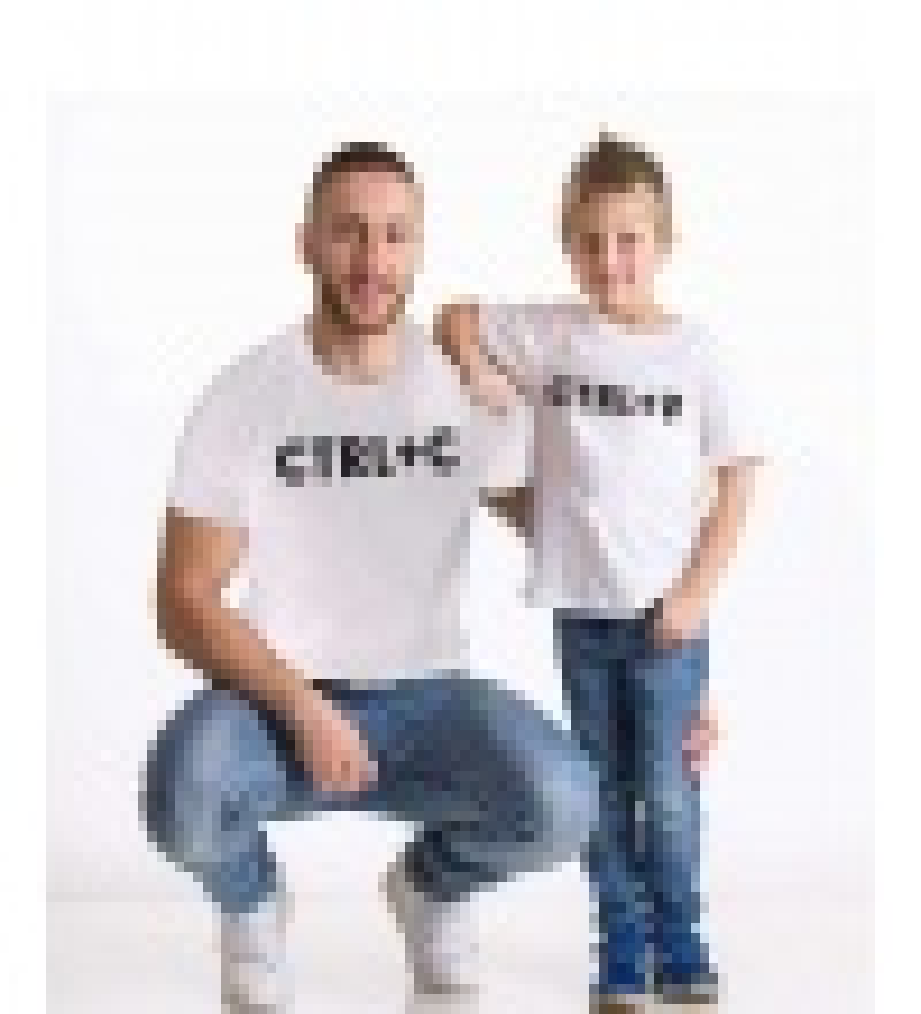 Tshirthane - Ctrl+c,Ctrl+v Baba Oğul Tshirt Beyaz Tişört