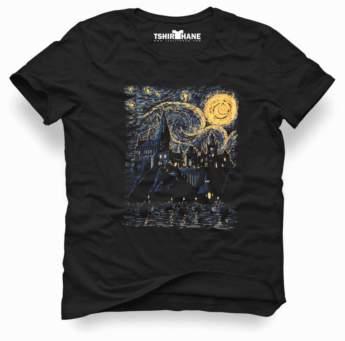 H P Touz Van Gogh Erkek Baskılı Siyah Tshirt